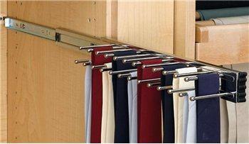 Pull Out Tie Rack, 14 inch, Satin Nickel, holds 25 ties