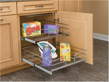 Rev-A-Shelf, 5WB2-1822-CR, 18 inch Double Pull-Out Chrome Wire Shelf