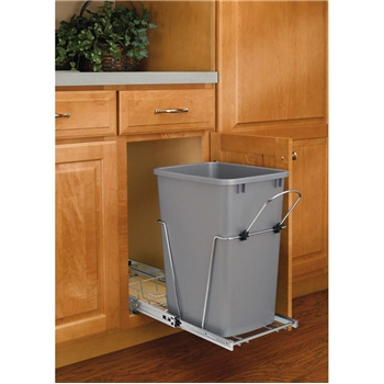 Rev-A-Shelf, RV-12KD-17CS, Pull-Out 35qt. Trash Can, Chrome/Silver