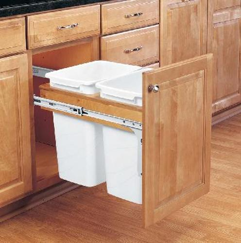Rev-A-Shelf, 4WCTM-18DM2, Wood Classics Trash Can, Two 35 Quart