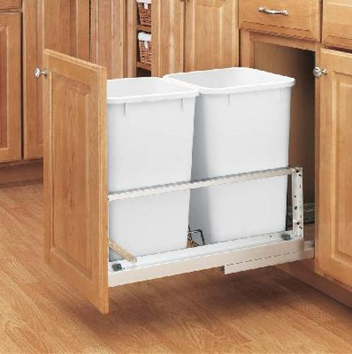 Rev-A-Shelf, 5349-1527DM-2, Double Doormount 27 Qt. Trash Can, White